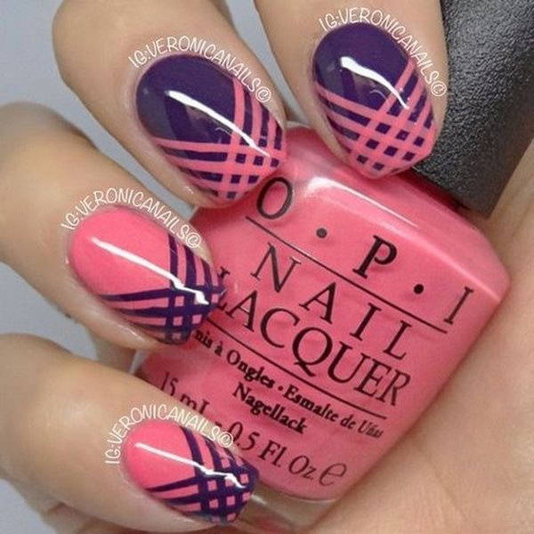 Pink And Purple Strip Manicure