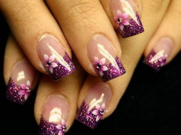Purple Nail Tip Designs Beautiful View Images French
