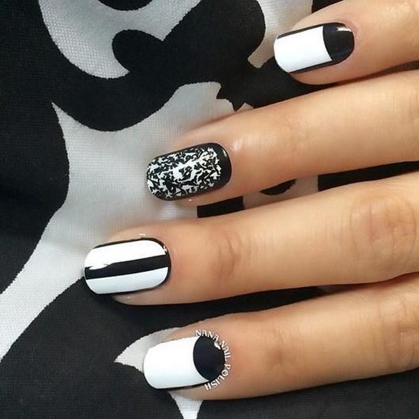 1 black and white nail designs - 80+ Black And White Nail Designs