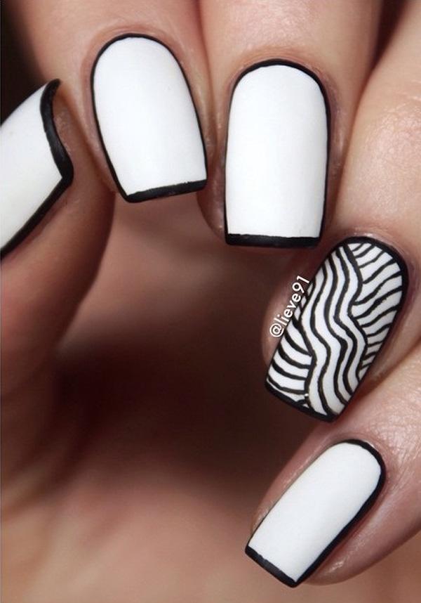 Cute Black White Cat And Polka Dots Nails