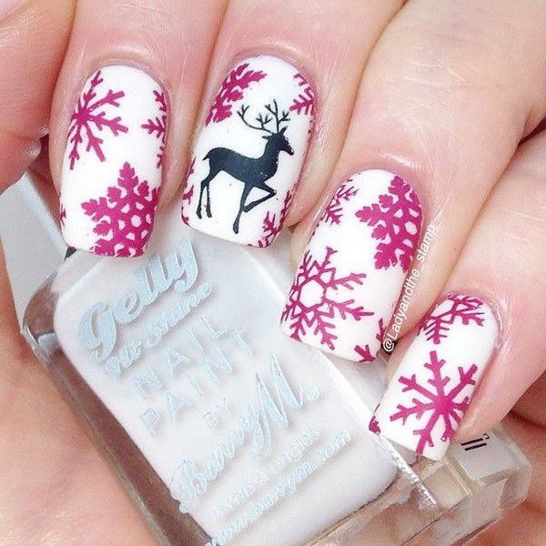 Pink Snowflakes and Black Reindeer Accent Nail Art