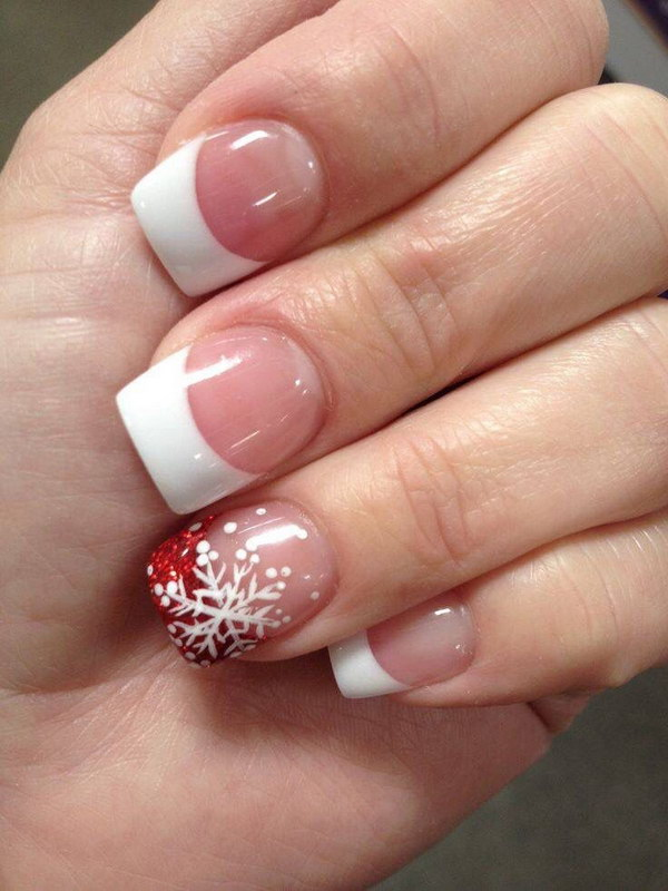 French Tips With Snowflake Nail Art