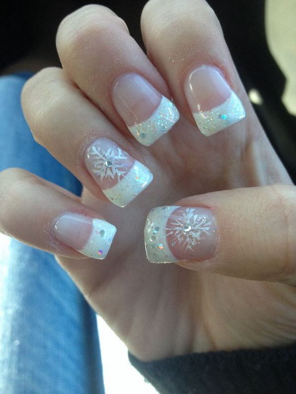 Acrylic Sparkle French Tips With Snowflake Nail Art