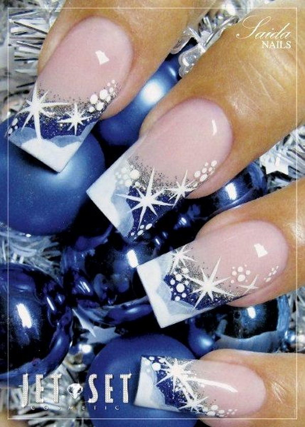 Red French Tip Nail Designs Christmas