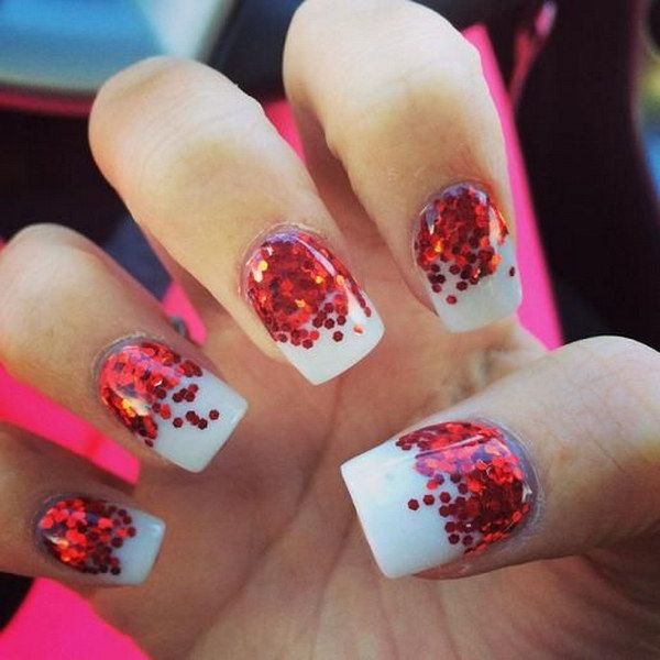 Red Polka Dot Nail Art With White Background
