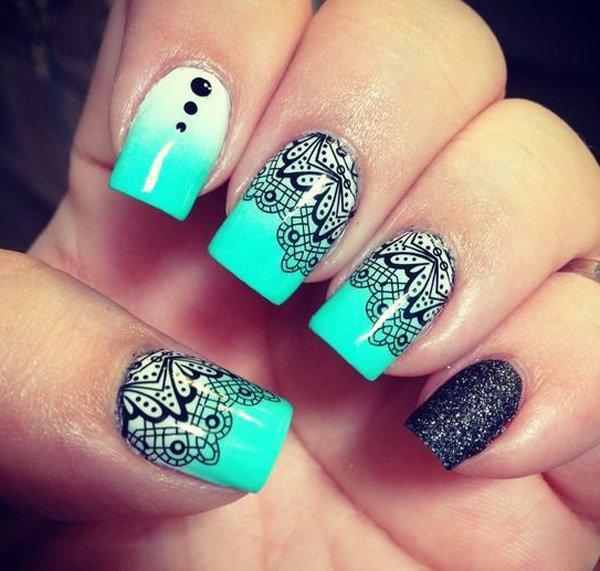 13 green nail art designs - 100+ Awesome Green Nail Art Designs