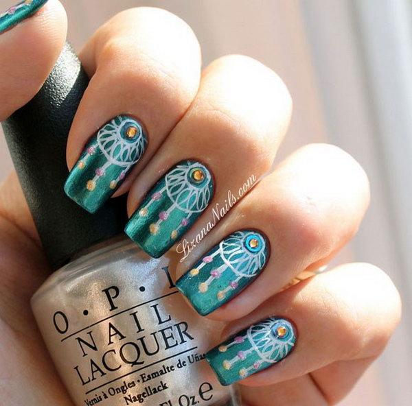 16 green nail art designs - 100+ Awesome Green Nail Art Designs
