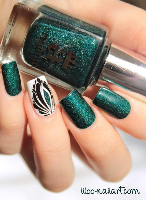 21 green nail art designs - 100+ Awesome Green Nail Art Designs