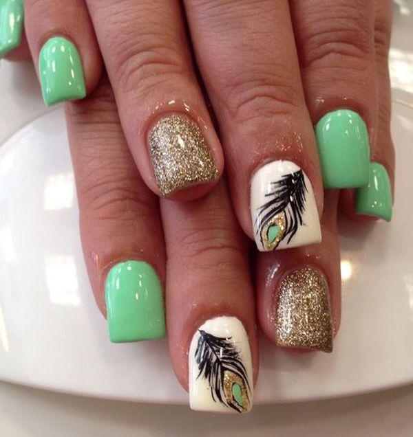 39 green nail art designs - 100+ Awesome Green Nail Art Designs
