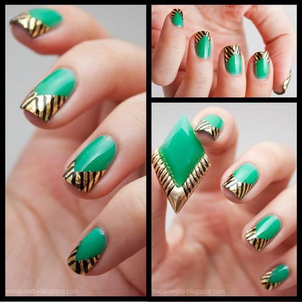 4 green nail art designs - 100+ Awesome Green Nail Art Designs