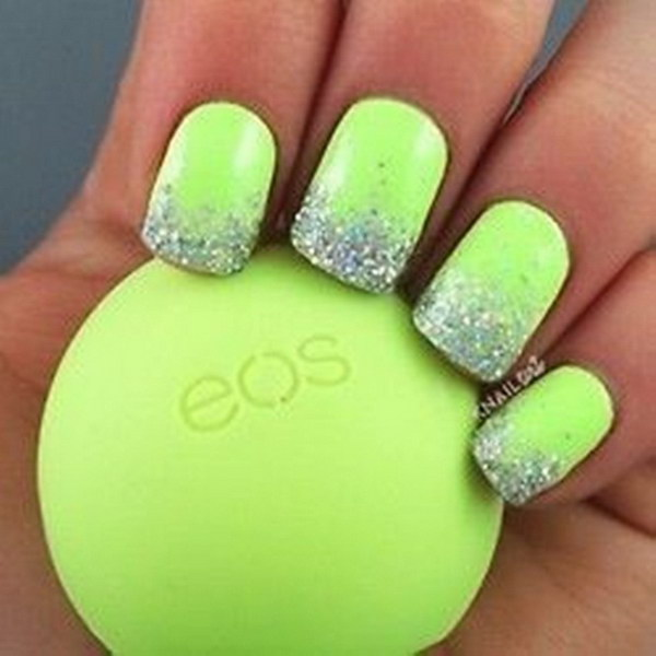 Glitter Tips Lime Green Nail Design 100 Awesome Art Designs
