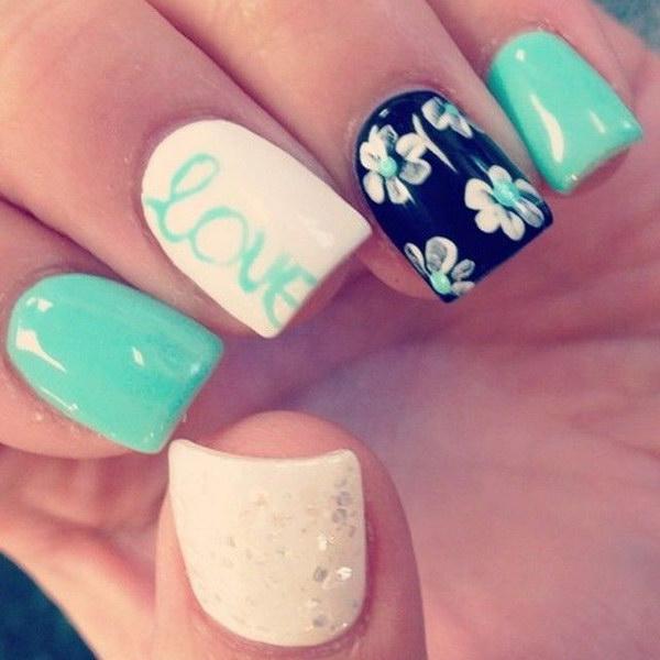 47 green nail art designs - 100+ Awesome Green Nail Art Designs