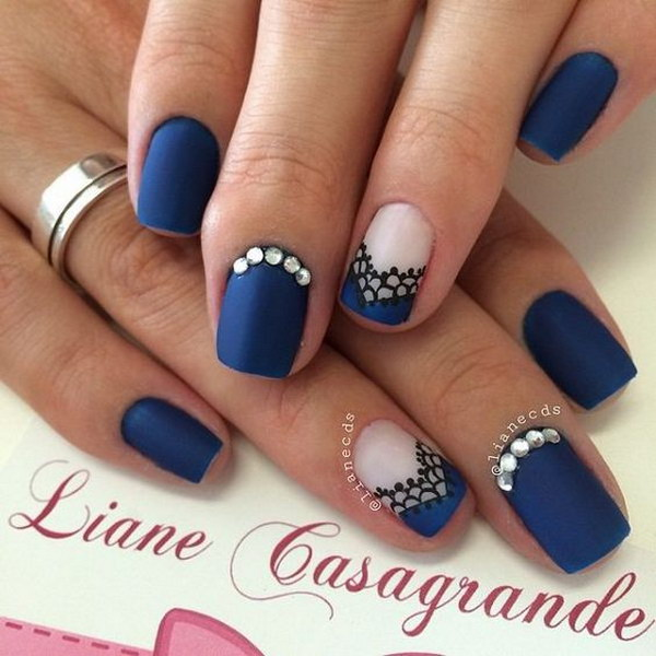 Midenight Blue Matte Nails With Lace Details And Silver Be On Top