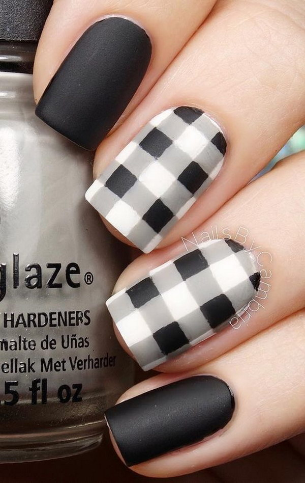 Black And White Matte Plaids Nail Art Design