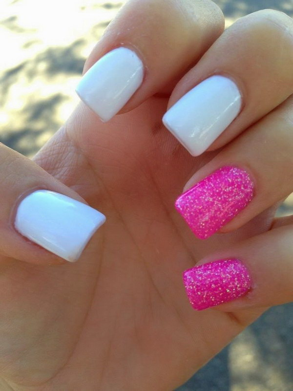 14 pink and white nail art designs - 50 Lovely Pink and White Nail Art Designs
