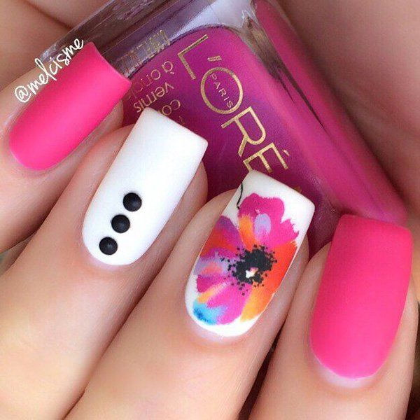 Pink And White Nails With Ons A Flower Details