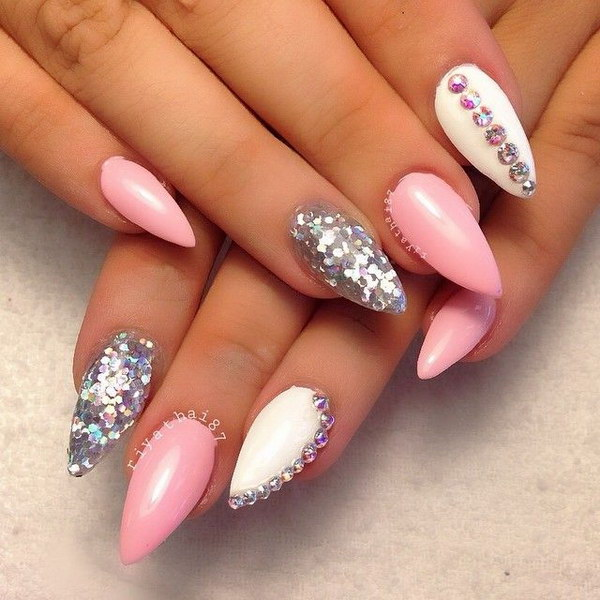 18 pink and white nail art designs - 50 Lovely Pink and White Nail Art Designs