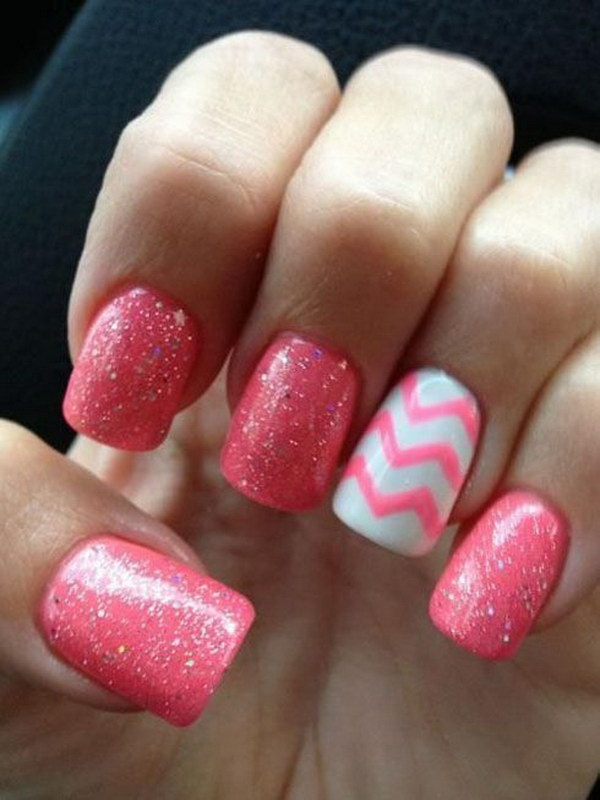 23 pink and white nail art designs - 50 Lovely Pink and White Nail Art Designs