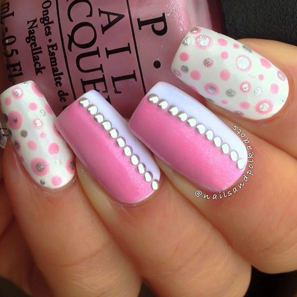 32 pink and white nail art designs - 50 Lovely Pink and White Nail Art Designs