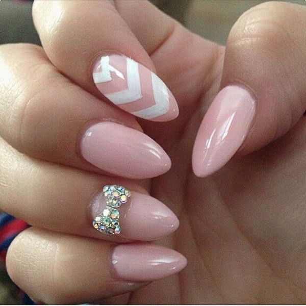 Baby Pink And White Bow Nail Art Design