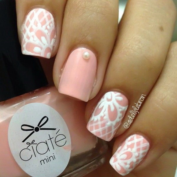 41 pink and white nail art designs - 50 Lovely Pink and White Nail Art Designs