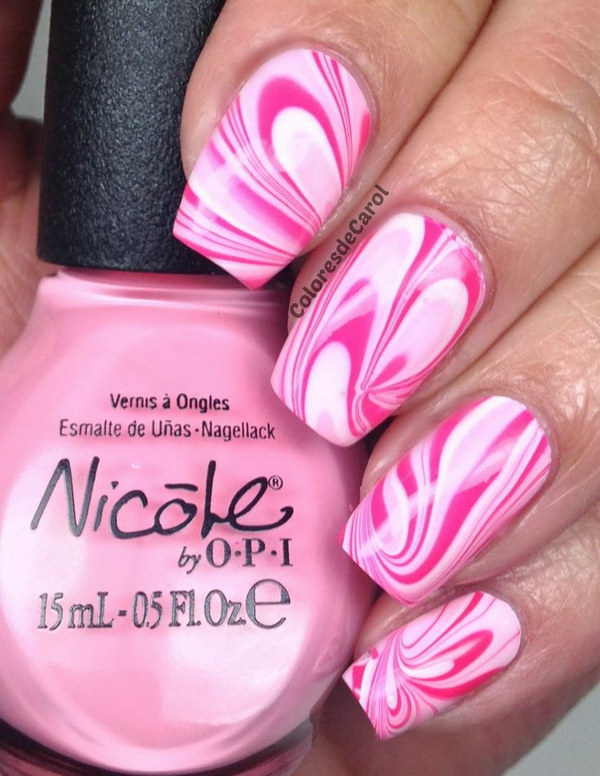 47 pink and white nail art designs - 50 Lovely Pink and White Nail Art Designs