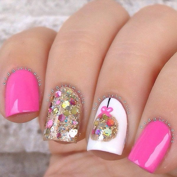 48 pink and white nail art designs - 50 Lovely Pink and White Nail Art Designs