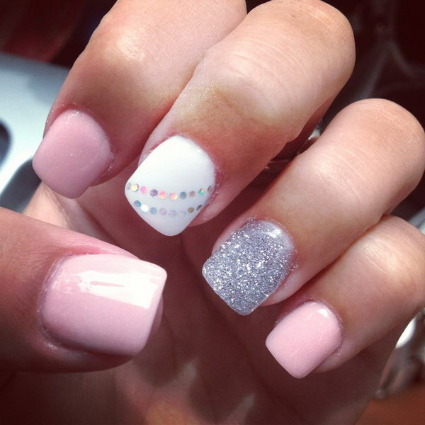 50 pink and white nail art designs - 50 Lovely Pink and White Nail Art Designs