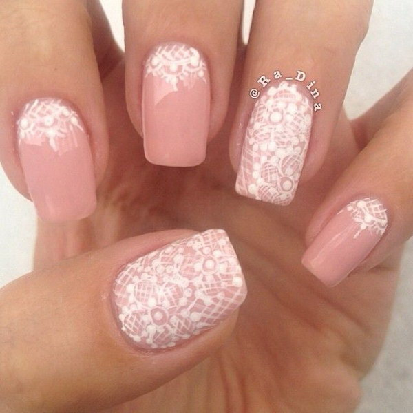 Pink And White Lace Nail Design