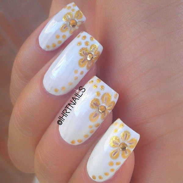 White And Gold Fl Nail Design