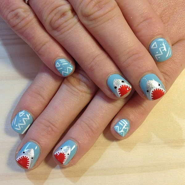 11 beach nail art - 30+ Beach Themed Nail Art Designs