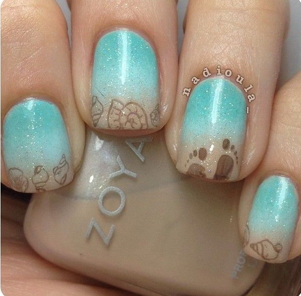 12 beach nail art - 30+ Beach Themed Nail Art Designs