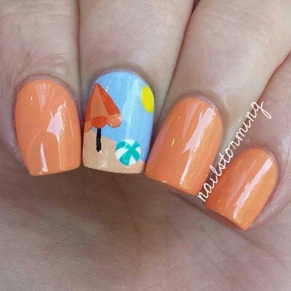 23 beach nail art - 30+ Beach Themed Nail Art Designs