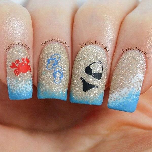 24 beach nail art - 30+ Beach Themed Nail Art Designs