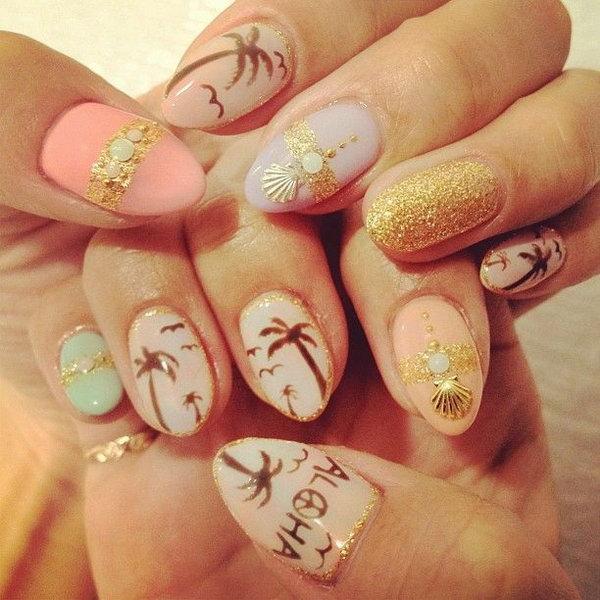 33 beach nail art - 30+ Beach Themed Nail Art Designs