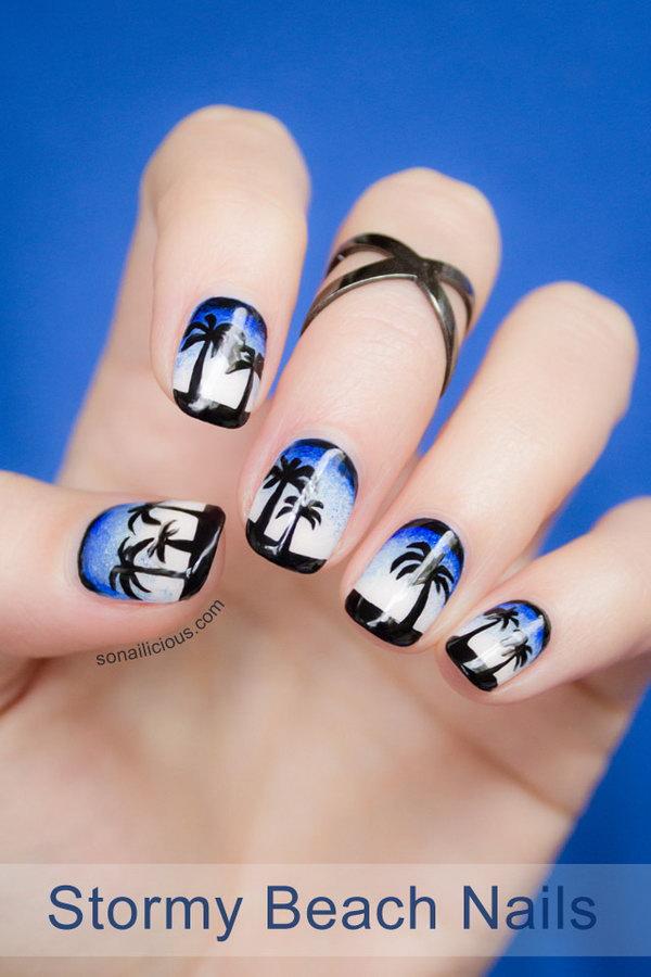6 beach nail art - 30+ Beach Themed Nail Art Designs