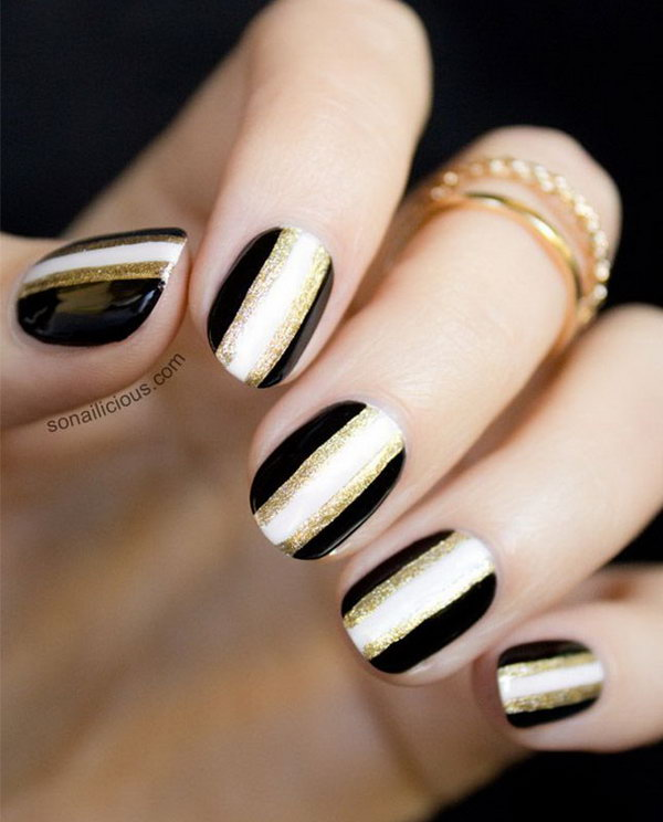 10 black and white nail art - Black and White Nail Art Designs – Perfect Match For Any Parties