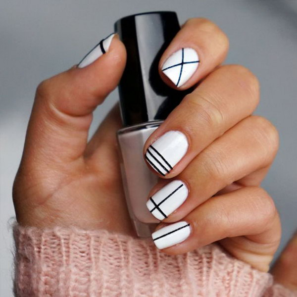 12 black and white nail art - Black and White Nail Art Designs – Perfect Match For Any Parties