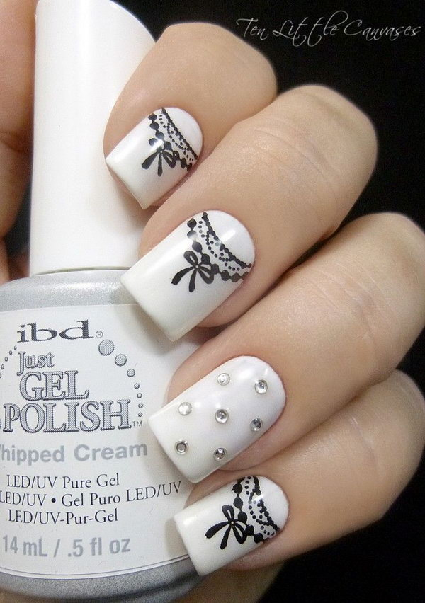 15 black and white nail art - Black and White Nail Art Designs – Perfect Match For Any Parties