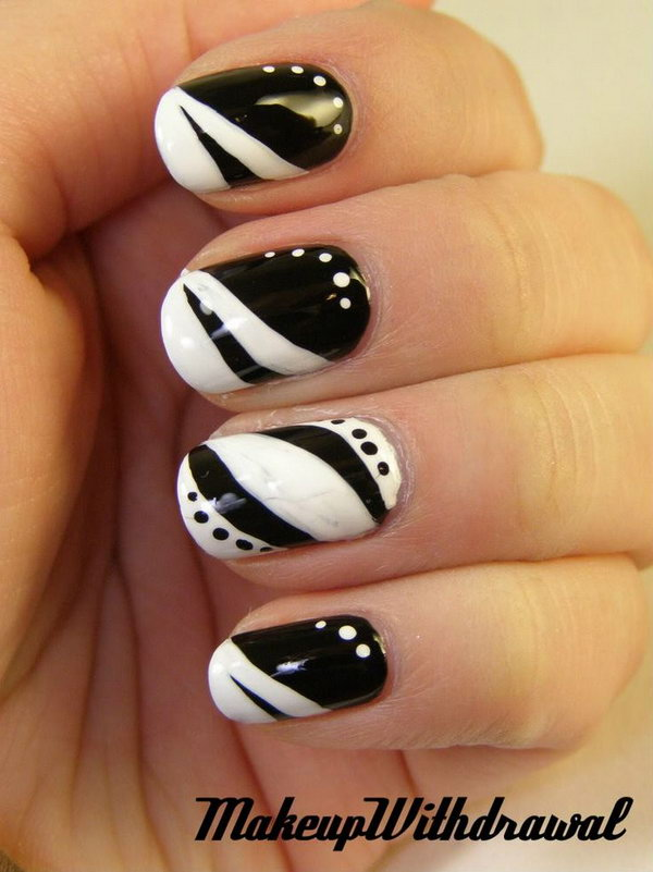 16 black and white nail art - Black and White Nail Art Designs – Perfect Match For Any Parties