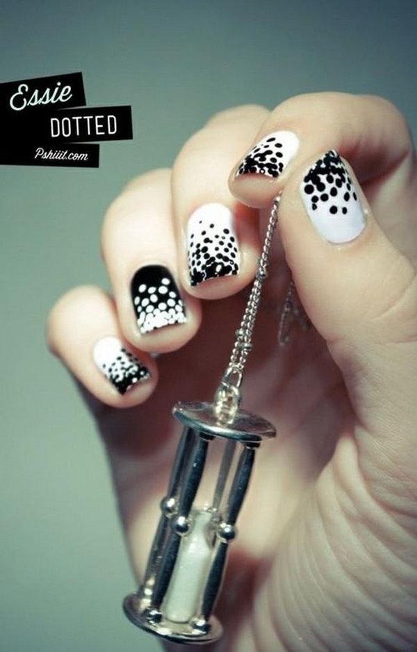 Cute Polka Dot Black And White Nail Designs