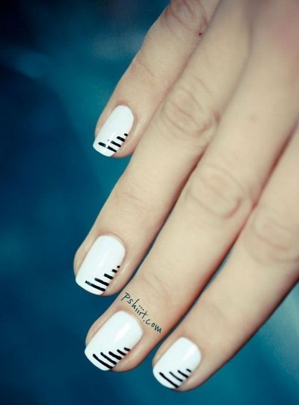 Minimalist Black White Striped Nails