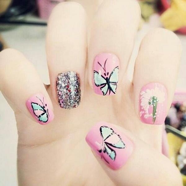 1 20 butterfly nail art designs - 30+ Pretty Butterfly Nail Art Designs