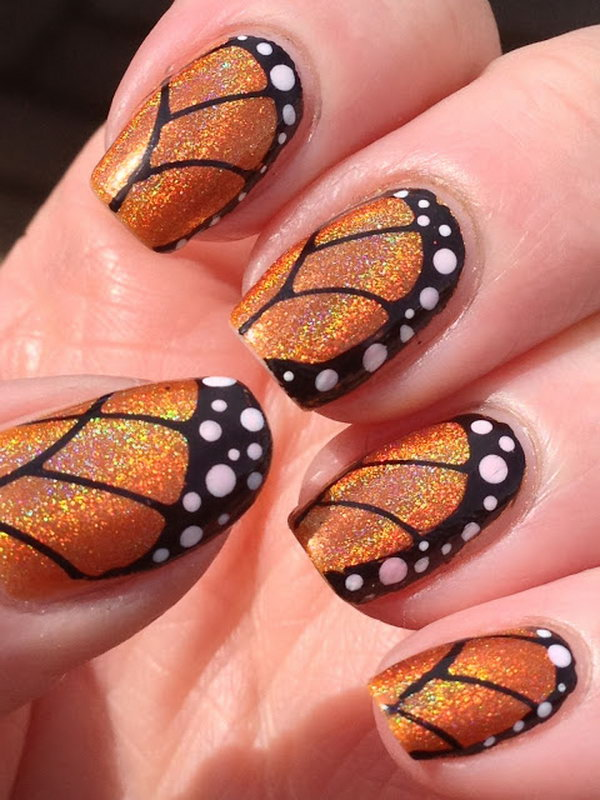 1 butterfly nail art designs - 30+ Pretty Butterfly Nail Art Designs