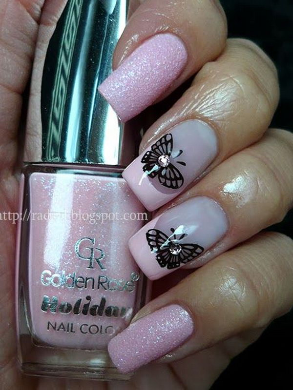 13 butterfly nail art designs - 30+ Pretty Butterfly Nail Art Designs