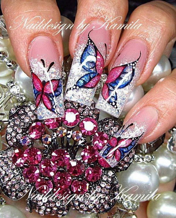 21 butterfly nail art designs - 30+ Pretty Butterfly Nail Art Designs