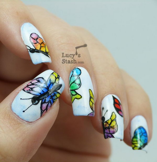 24 butterfly nail art designs - 30+ Pretty Butterfly Nail Art Designs