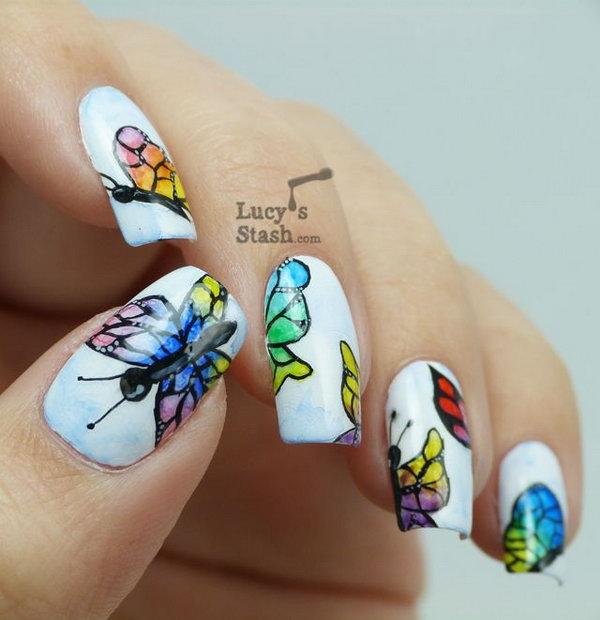 24 butterfly nail art designs - 30+ Pretty Butterfly Nail Art Designs