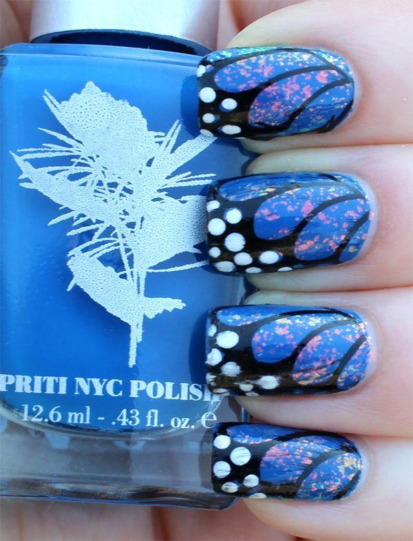 27 butterfly nail art designs - 30+ Pretty Butterfly Nail Art Designs