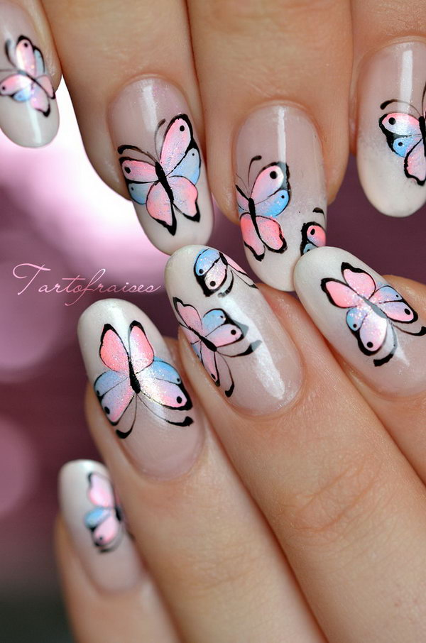 31 butterfly nail art designs - 30+ Pretty Butterfly Nail Art Designs